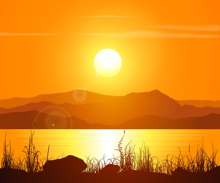 Illustration pour Sunset in the Rocky Mountains. Vector illustration. - image libre de droit