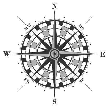 Ilustración de Compass rose isolated on white. Vector illustration. - Imagen libre de derechos