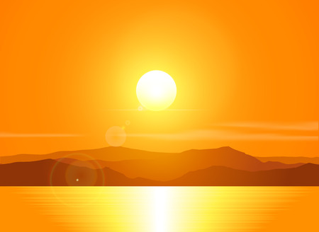 Illustration pour Landscape with sunset at the seashore  over mountain range. Vector illustration. - image libre de droit
