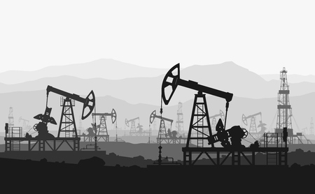 Ilustración de Oil pumps at large oilfield over mountain range. Detail vector illustration. - Imagen libre de derechos