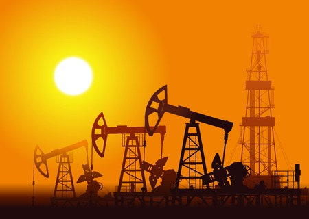 Illustration pour Oil pumps and rig over sunset. Detail vector illustration. - image libre de droit