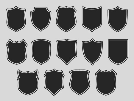 Illustration for Set of shields with contours over grey background. Vector illustration. - Royalty Free Image