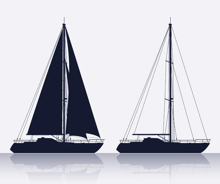Ilustración de Yachts. Detailed vector silhouette of two luxury yachts. - Imagen libre de derechos