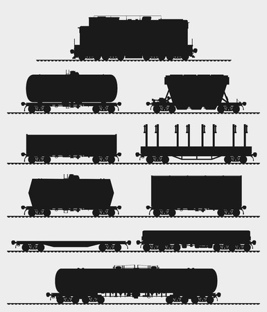Illustration pour Set of train and different types of freight wagons. Detailed isolated vector illustration. - image libre de droit