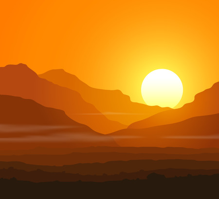 Illustration pour Lifeless landscape with huge mountains at sunset. - image libre de droit
