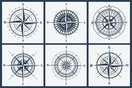 Ilustración de Set of isolated compass roses or windroses . Vector illustration. - Imagen libre de derechos