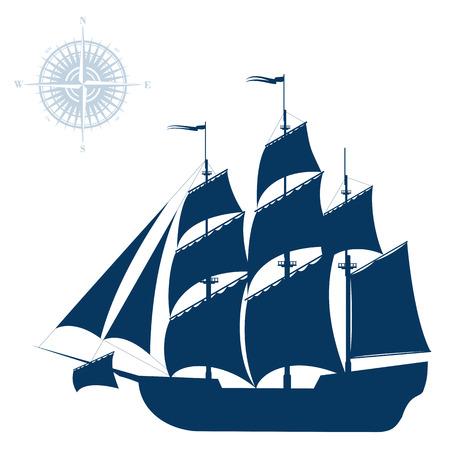 Illustration pour Sailing ship isolated on white background - image libre de droit