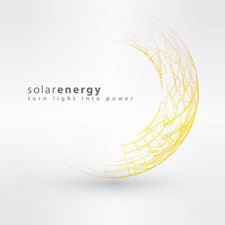 Illustration pour Sun icon made from power symbols. Solar energy logo design concept. Creative sign template. - image libre de droit