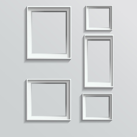 Illustration pour Set of white photo frames vector illustration image - image libre de droit