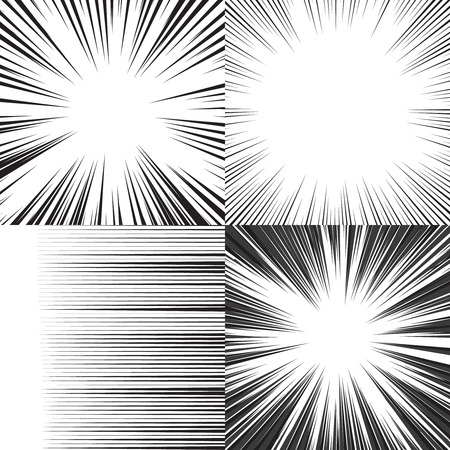 Illustration pour Comic book speed horizontal lines background set of four editable images - image libre de droit