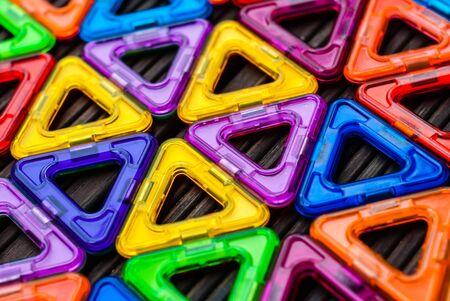 Foto de Pattern of colored plastic triangles - Imagen libre de derechos
