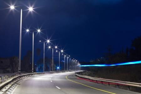 Highway at night in Tel Aviv  Yom Kippur