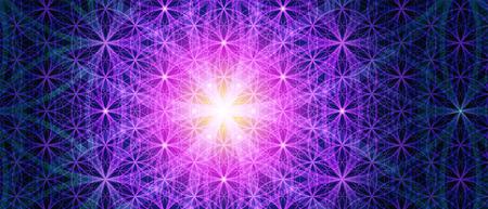 Ilustración de Symbols of sacred geometry, depict fundamental aspects of space and time. Background Flower of life symbol variations. - Imagen libre de derechos