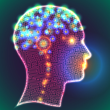 Illustration pour Anatomical representation. Profile of a human head with a colorful symbol of neurons in the brain - image libre de droit