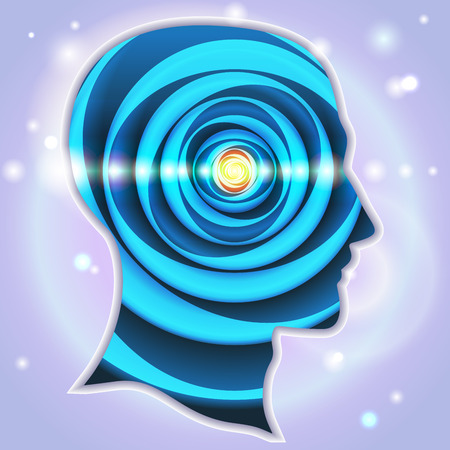 Illustration pour Profile of human head with a beautiful symbol of the pineal gland - image libre de droit