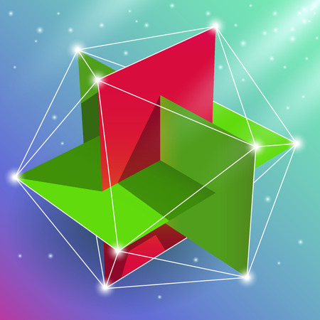 Illustration pour Geometric figure regular icosahedron, sacred geometry element. Visual, creative representation of the spatial construction of a multi-faceted design. - image libre de droit