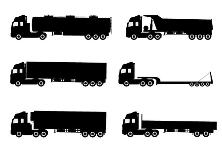 Illustration pour Vector set of silhouettes the cargo trucks. - image libre de droit