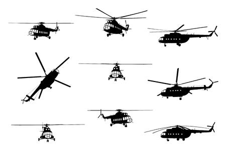 Illustration pour Vector illustration the silhouette of the helicopter. - image libre de droit