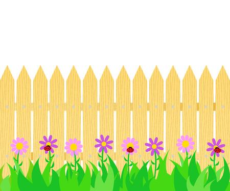 Illustration pour Grass and flowers before the fence icon. - image libre de droit