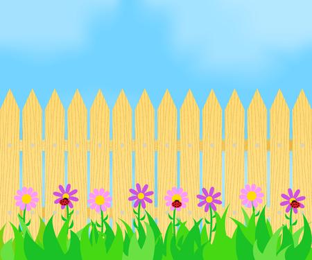 Illustration pour Grass and flowers before the fence. - image libre de droit
