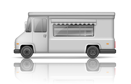 Illustration pour Realistic Food Truck isolated on white. Fast food or ice cream Van template for Mock Up for your design and transport advertising. White Service Delivery Truck blank surface - image libre de droit