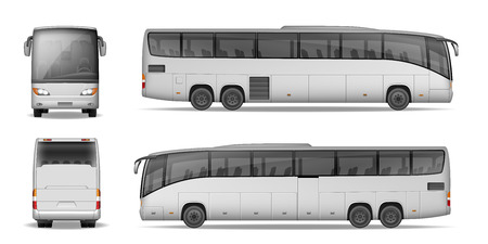 Ilustración de Coach bus isolated on white background. Travel Passenger Bus for advertising and your design. Realistic coach mockup Side, Front and Back view. Vector illustration - Imagen libre de derechos