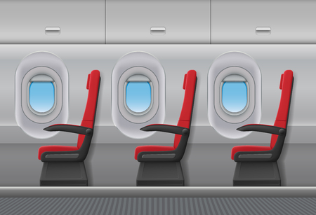 Illustration pour Passenger airplane red vector interior. Aircraft indoor cabin with portholes and chairs seats. Vector illustration. - image libre de droit