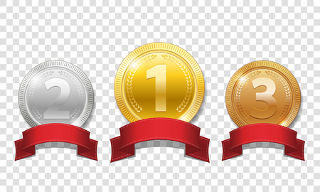 Illustration for Gold, silver and bronze shiny medals with red ribbons isolated on transparent background. Champion Award Medals sport prize. Vector illustration EPS 10 - Royalty Free Image
