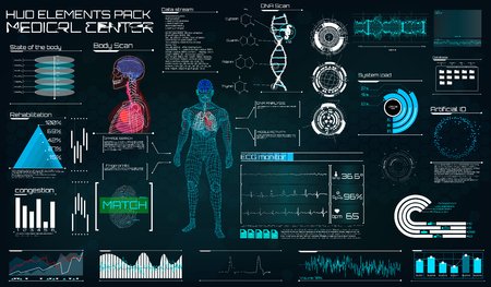 Illustration pour Modern medical examination in the style of HUD. Ultrasound and cardiogram. A futuristic medical interface, a virtual body scanning interface with heart, human body and electrocardiogram illustrations. - image libre de droit