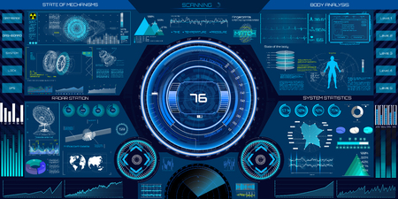 Ilustración de Abstract HUD elements for UI UX design. Futuristic sci-fi user interface for app. Space, dashboard, hologram, spaceship, medicine, finance, analytics, virtual graphic touch user interface in HUD style. - Imagen libre de derechos