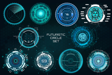 Illustration pour Futuristic Circles, Full color Elements Set. HUD Sci Fi Interfaces (Cockpit Panels, Circulars, Dashboards, Crosshair, Radar) Modern technoloy elements HUD UI. Vector full colors Sci fi interfaces set - image libre de droit