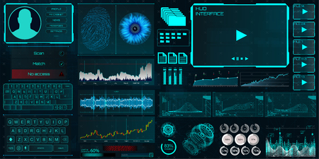 Illustration pour HUD UI for business app. Interface elements (Identity, fingerprint and retina check, statistics and charts and elements interface in HUD style) technology elements vector collection - image libre de droit
