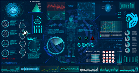 Illustration pour Medical examination HUD elements set. Display virtual interface (dna formula, ecg monitor, body scan, medical infographic, icons set, statistic and diagrams) Modern research of human health, vector - image libre de droit