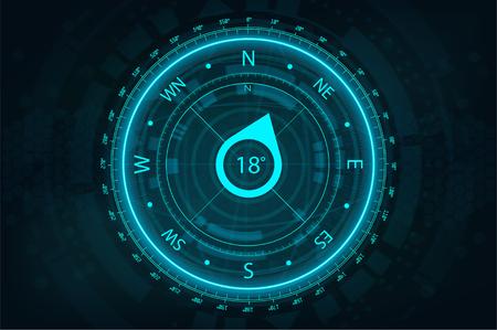 Ilustración de Futuristic Compass in HUD style for UI and UX, website or mobile application. Futuristic user interface gadget. Compass FUI, HUD. Vector illustration device - Imagen libre de derechos