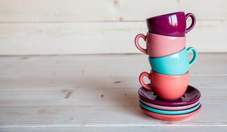 Foto de coffee concept on a wooden background - Imagen libre de derechos