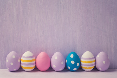 Colorful easter eggs, with space for text. Background