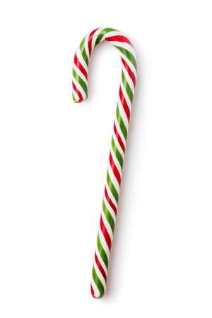 Photo pour Christmas lollipop in the form of a crutch isolated on white background - image libre de droit