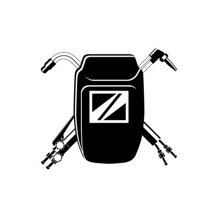 Ilustración de Welding icon for your company. Welding mask and cutting torches - Imagen libre de derechos