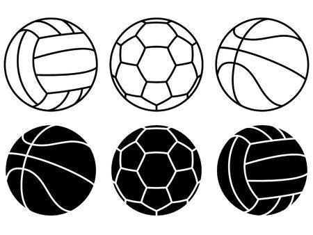 Ilustración de Set of different Sport balls on white background. Vector icons. - Imagen libre de derechos