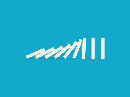 Ilustración de Falling dominoes on a blue background. Flat design style - Imagen libre de derechos