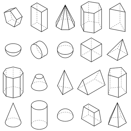 Illustration for Set of geometric shapes. Isometric views. Vector illustration - Royalty Free Image