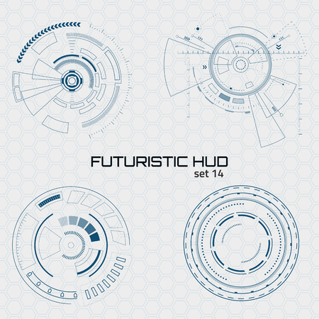 Illustration pour Set of sci fi futuristic user interfaces on grey background. Vector illustration. - image libre de droit