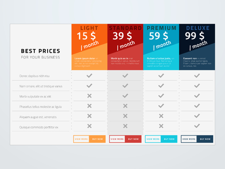 Illustration pour Pricing table vector template. Template with four pricing types for sites, applications and other commercial services. - image libre de droit