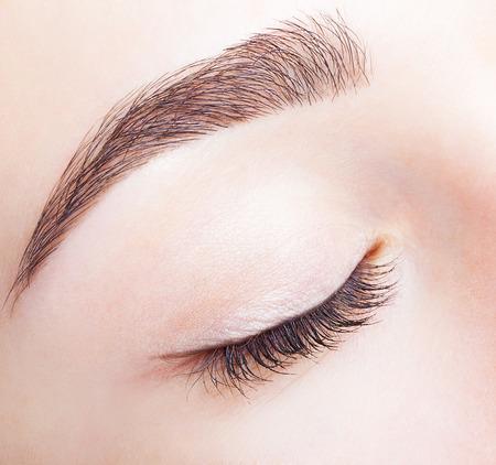 Foto de Closeup shot of female closed eye and brows with day makeup - Imagen libre de derechos