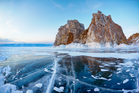 Photo for Mount Shamanka or Cape Burkhan on siberian lake Baikal at winter - Royalty Free Image