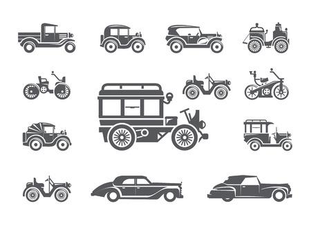 Illustration pour Vintage cars. Icons set - image libre de droit