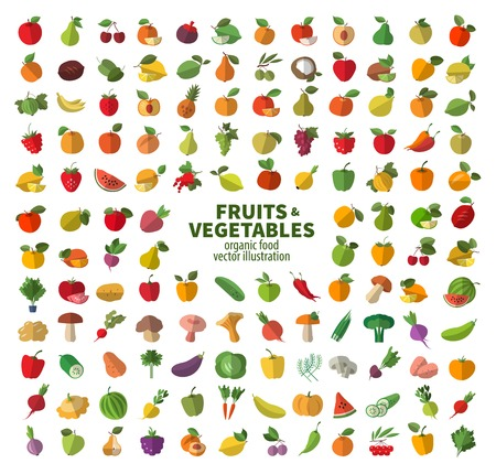 Photo for The collection of icons on fruits and vegetables. Fresh food - Royalty Free Image
