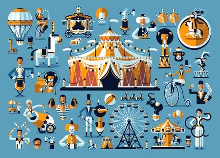 Illustration pour Circus Entertainment. A cute circus performance related items - image libre de droit