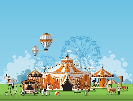 Illustration pour Vector illustration of circus tent. Trade fair complex in the meadow - image libre de droit