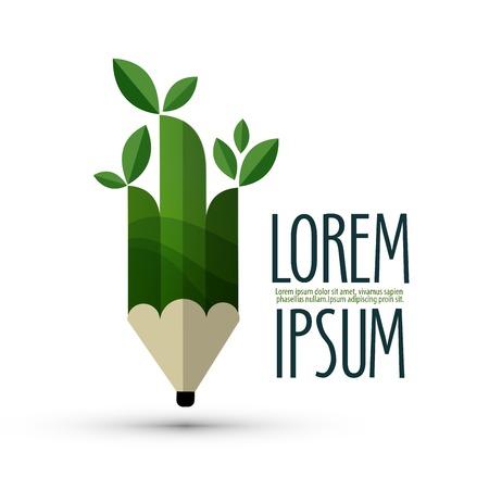 Illustration pour Green pencil with leaves on a white background. vector illustration - image libre de droit